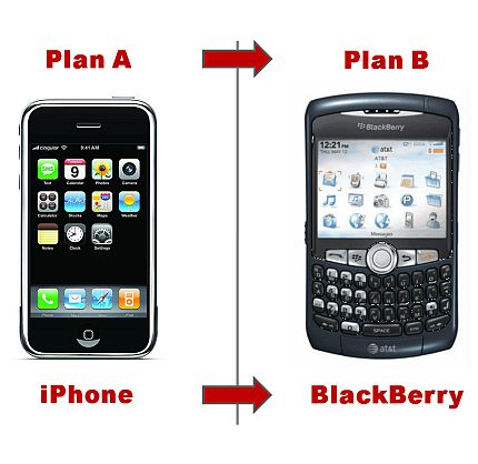 "Plan A: iPhone <font color=""#ba2124"">