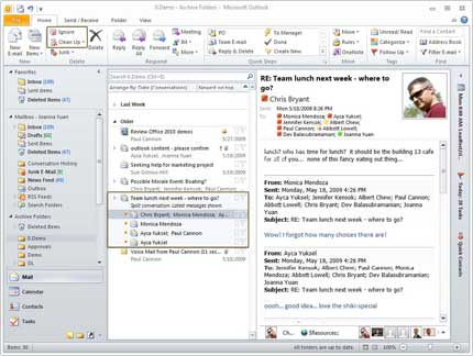 Outlook 2010's Conversation View And Protected View