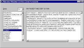 Figure 1: National Weather Zone Forecasts