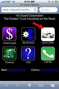 Truckers can submit claims via PDA by visiting 1stguard.com and hitting the
