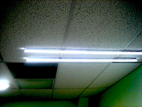 Solar tube and 2 LED lighting sets inside office