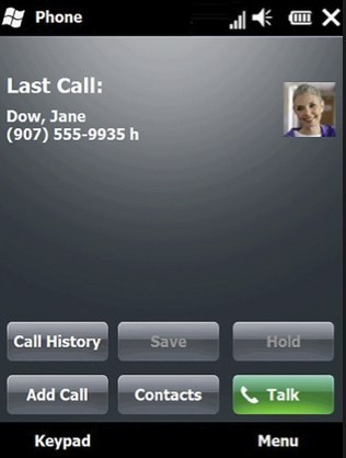 Last Call with Contact Picture Screen