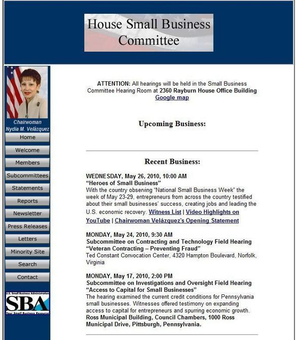 House Of Representatives Small Business Committee