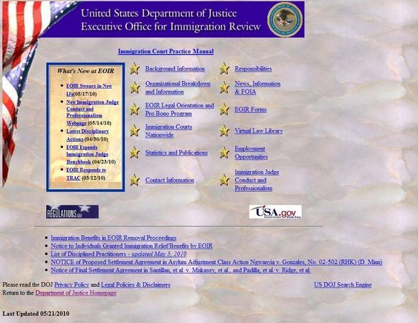 DOJ Executive Office For Immigration Review