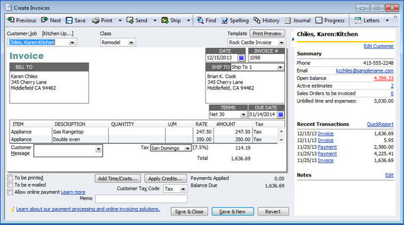 QuickBooks 2011 Customer Invoice
