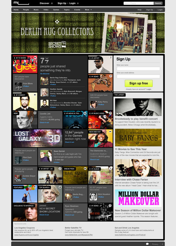 MySpace Home Page