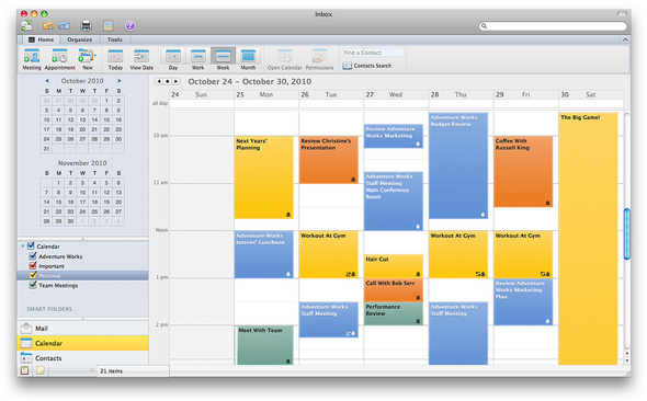 A full calendar view in Outlook