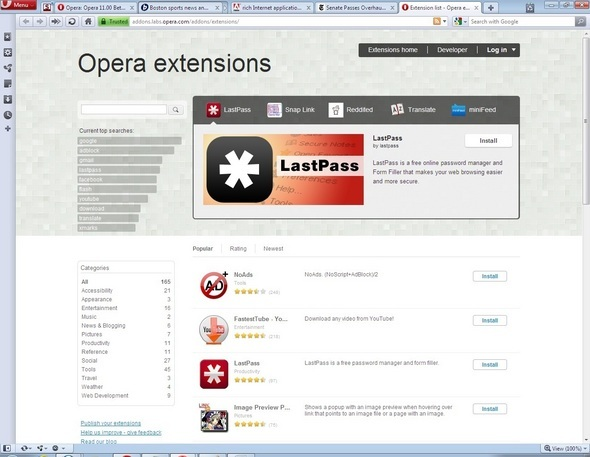 Clicking Through Opera 11 Browser Beta