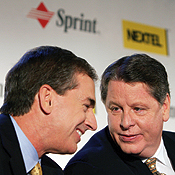 Sprint's Forsee (left) will be president and CEO of the new company; Nextel's Donahue will become chairman.