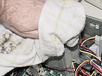 The same barely damp cloth can easily clean the exterior of the power supply.