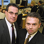 Max Kofman and Vincent Milack (left). Photo by Najlah Feanny/Corbis Saba