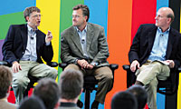 Microsoft will invest in innovation, says chairman Gates, with CFO Connors and CEO Ballmer. Photo by Lou Dematteis