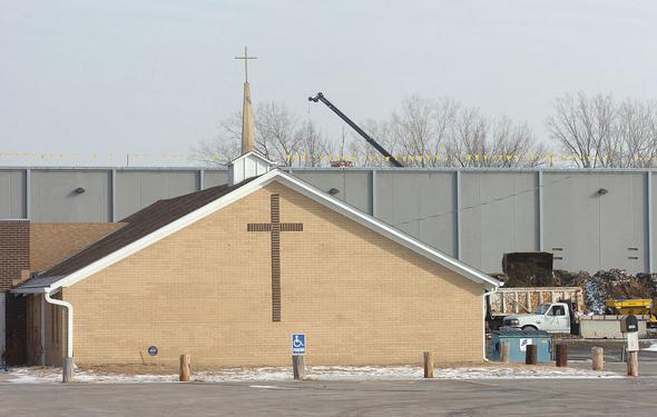 Nearby Presbyterian Church will be demolished.