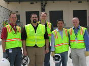 Microsoft's data center team: L to R, its Eddie Reed, data center manager, San Antonio; Nick Bustamonte, facilities program manager, San Antonio; Michael Manos, general manager, data center services; Buon Keopradith, technical program manager, San Antonio; Joel Stone, area data center manager, North America West.