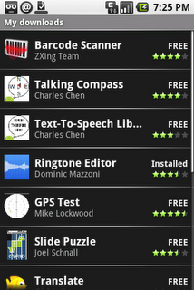 Android's My Downloads screen will let users track applications they've installed from Android Market.