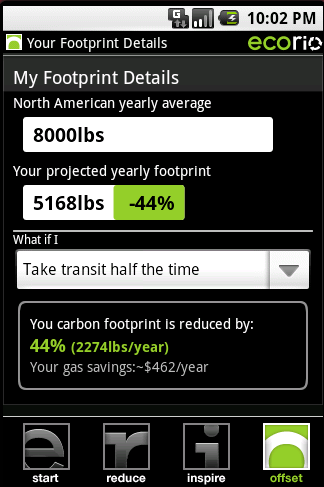 Ecorio, a winner of $275,000 in Google's Android Developer Challenge I, calculates a user's travel carbon footprint and suggests ways to reduce energy consumption.