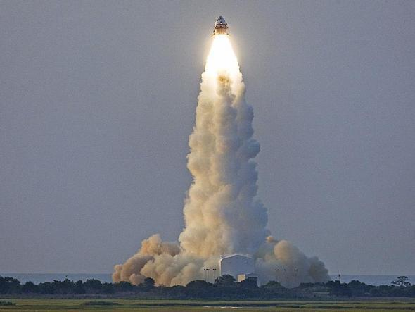 In an unpiloted test launch on July 8, 2009, from Wallops Flight Facility in VA, the Max Launch Abort System (MLAS) reached an altitude of 1 mile before separating as planned.