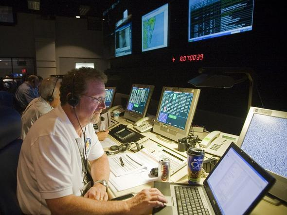 In the control room, before launch.