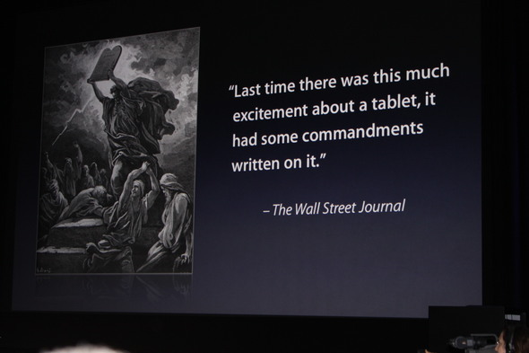 Jobs pokes fun at the press about the Apple Tablet.